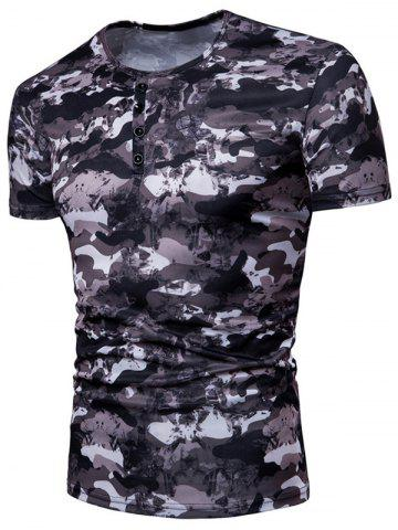 Camo Print 4 Buttons Decor Crew Neck Short Sleeve Tee
