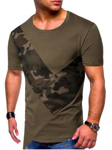 Camouflage Mesh Patch Irregular Hem T-shirt