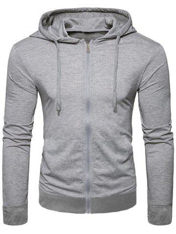 Solid Color Full Zip Up Pocket Casual Hoodie