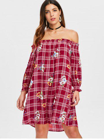 Floral Plaid Print Off The Shoulder Dress