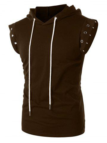 Solid Color Lace Up Sleeveless Drawstring Hoodie