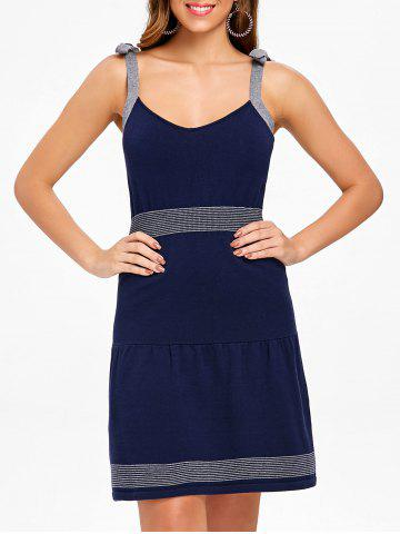 Sleeveless Tie Straps Sweater Dress - MIDNIGHT BLUE - XL
