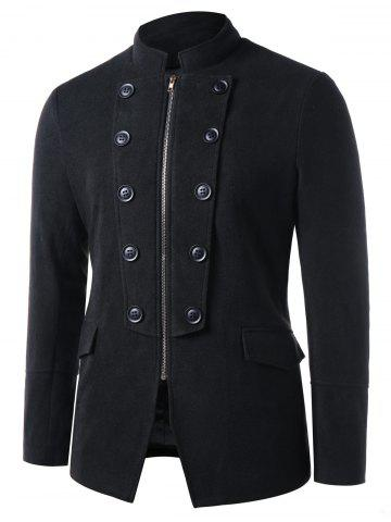 Stand Collar Zip Up Double Breasted Blazer