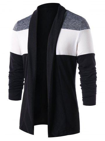 Casual Color Block Open Front Cardigan
