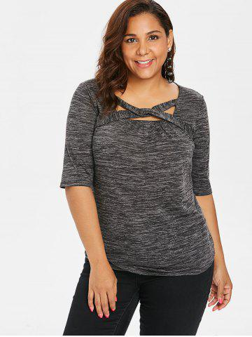 Plus Size Marled Twist Front T-shirt