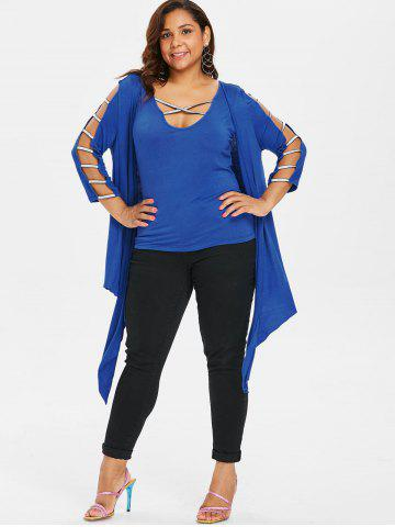 Plus Size Tank Top and Ladder Cut Cardigan