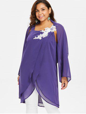 169cf38f440 Plus Size Square Neck Blouse With Long Sleeve Cape
