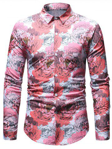Flowers Printed Long Sleeve Button Up Shirt