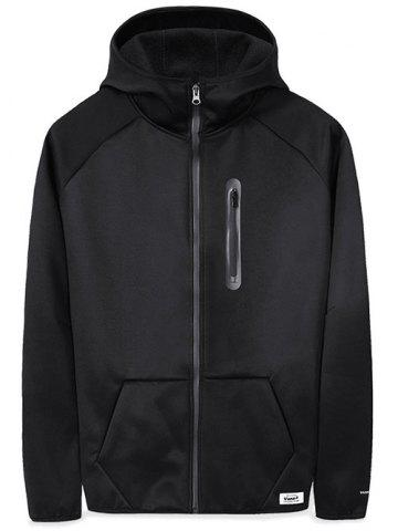 Pouch Pocket Zip Embellished Applique Hoodie
