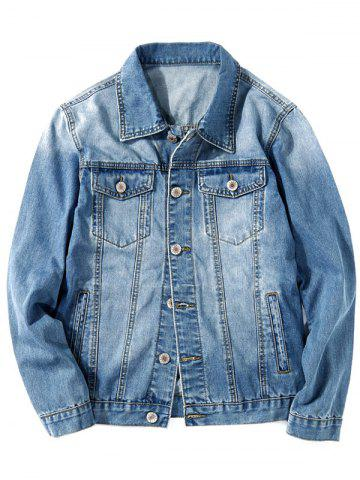 Turn Down Collar Faded Chest Pockets Jean Jacket