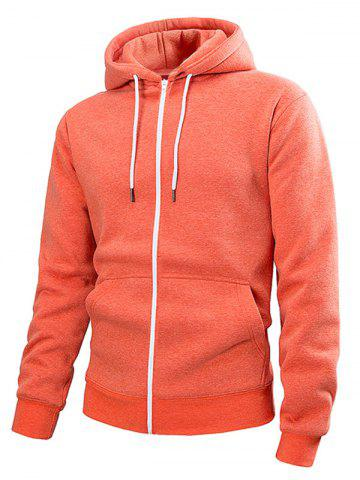 Pouch Pocket Zip Up Solid Color Hoodie - ORANGE - S