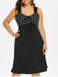 Polka Dot Sleeveless Plus Size Sweetheart Dress -