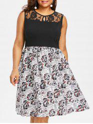 Lace Insert Plus Size Floral Print A Line Dress -