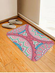 Cartoon Flower Print Coral Fleece Floor Mat -