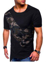 Camouflage Mesh Patch Irregular Hem T-shirt -