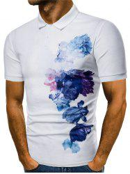 Side Flowers Painting Print Casual Polo Shirt -