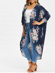 Plus Size Longline Floral Coat -