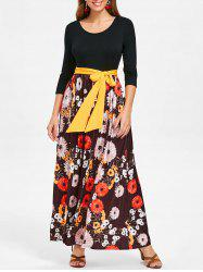 Floral Print Tie Belt Maxi Dress -