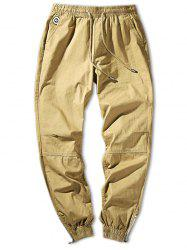 Solid Color Zip Hem Elastic Waist Jogger Pants -