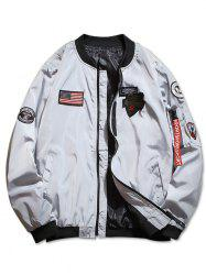 Zip Up American Flag Applique Casual Jacket -