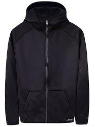 Pouch Pocket Letter Print Zip Up Hoodie -