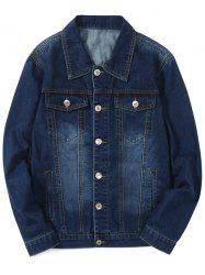 Turn Down Collar Faded Chest Pockets Jean Jacket -