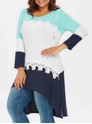 Color Block Plus Size Applique High Low T-shirt -