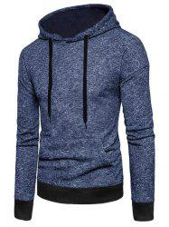 Two Tone Textured Print Kangaroo Pocket Fleece Hoodie -