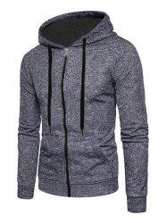 Full Zip Up Textured Print Kangaroo Pocket Fleece Hoodie -