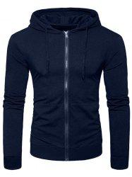 Solid Color Full Zip Up Pocket Casual Hoodie -