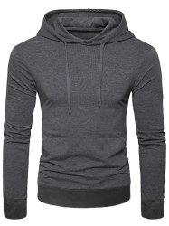 Casual Solid Color Kangaroo Pocket Long Sleeve Hoodie -