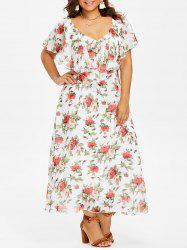 Flounce Insert Plus Size Floral Maxi Dress -
