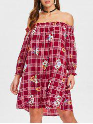 Floral Plaid Print Off The Shoulder Dress -