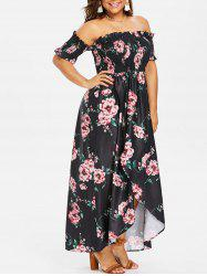 Plus Size Smocked Floral Dress -