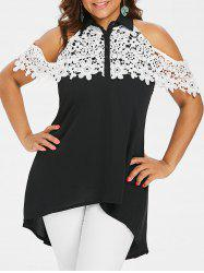 Plus Size Crochet Lace Flounce Blouse -