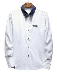 Chest Metal Embroidery Detail Contrast Shirt -