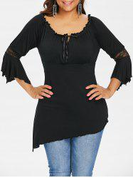 Plus Size Babydoll Lace Asymmetric Top -