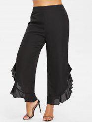 Plus Size Ruffle Slit Side Wide Leg Pants -
