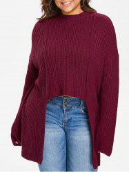 Plus Size Crew Neck High Low Sweater -