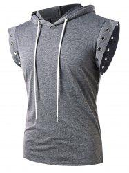Solid Color Lace Up Sleeveless Drawstring Hoodie -