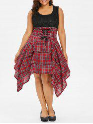 Plus Size Lace Plaid Lace Up Dress -
