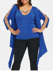 Plus Size Tank Top and Ladder Cut Cardigan -