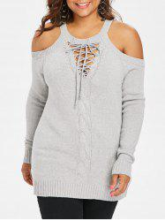 Plus Size Lace Up Sweater -