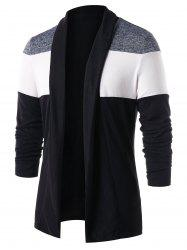 Casual Color Block Open Front Cardigan -