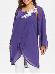 Plus Size Square Neck Blouse With Long Sleeve Cape -