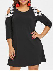 Plus Size Applique Open Shoulder Dress -