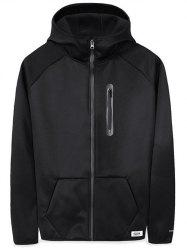 Pouch Pocket Zip Embellished Applique Hoodie -