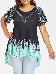 Printed Plus Size High Low T-shirt -