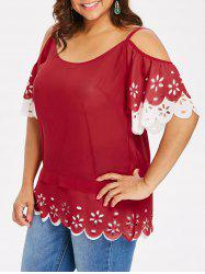 Plus Size Cold Shoulder Cutwork Blouse -