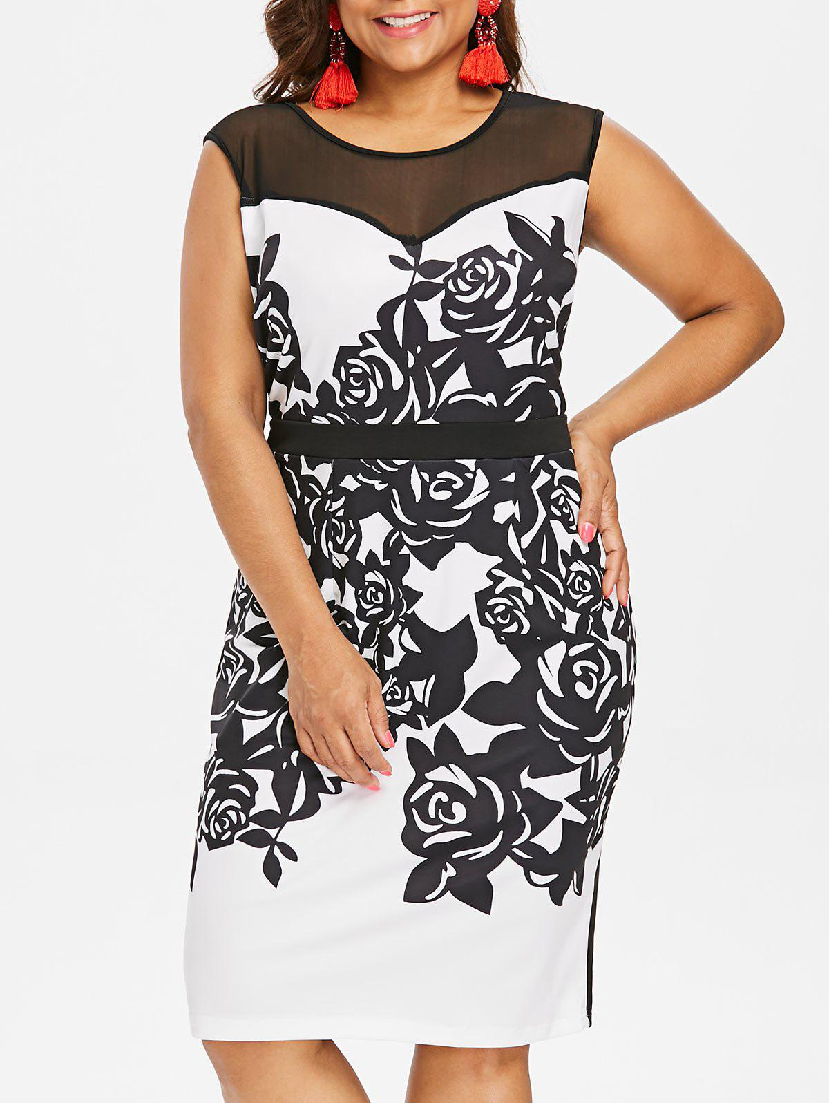 Outfit Plus Size Flower Print Mesh Panel Work Dress